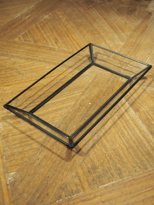 画像1: Iron x Glass Tray / アイアン x ガラストレイ[L] (1)
