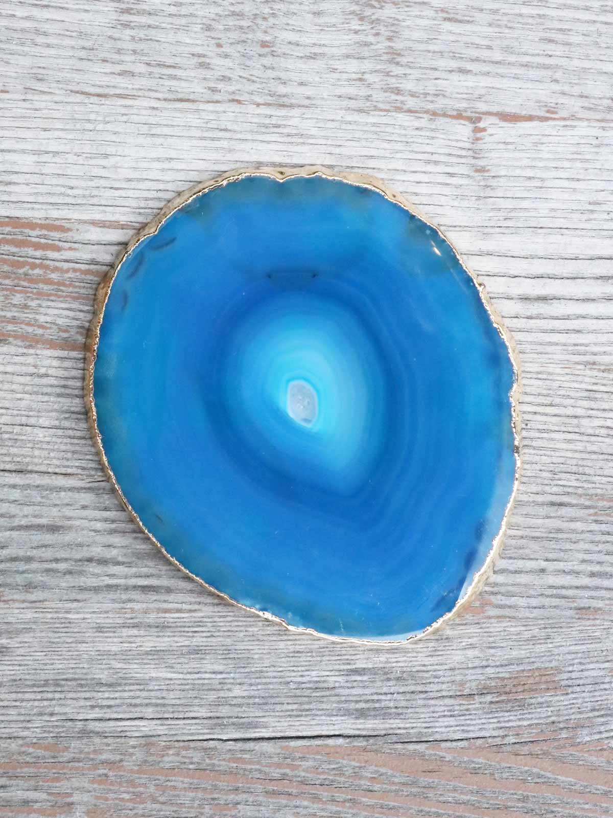 画像1: Gold Plated Agate Coaster / 天然石コースター[Blue  #3] (1)