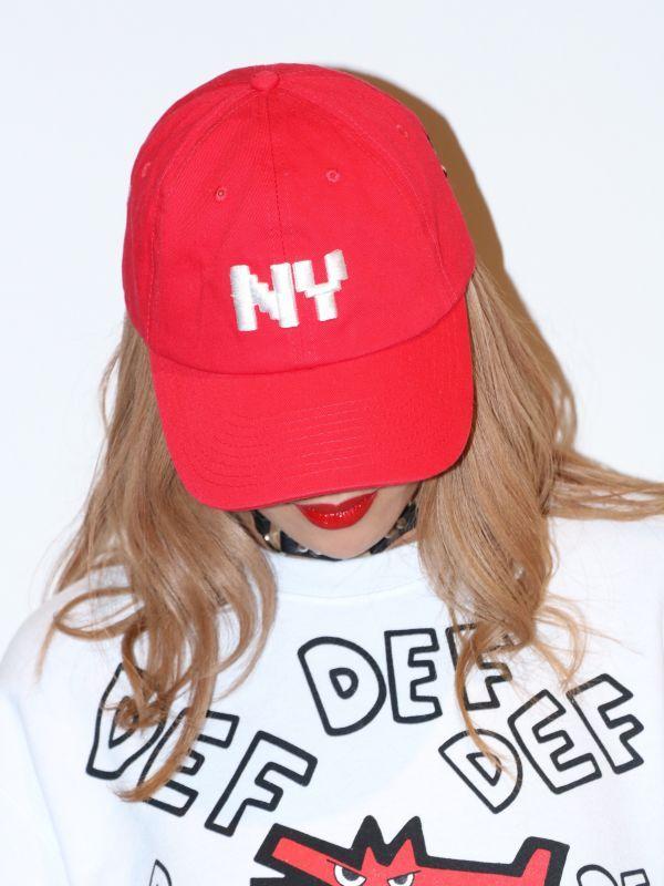 画像1: ★SALE★【B WOOD / ブライアンウッド】NY x PIZZA Bitmap Cap / ビットマップキャップ[Red] (1)
