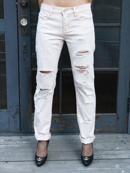 画像1: ★70%OFF★【BLANK NYC / ブランク】Crashed Boyfriend Jeans / ダメージ加工ボーイフレンドジーンズ[Vintage Pink] (1)