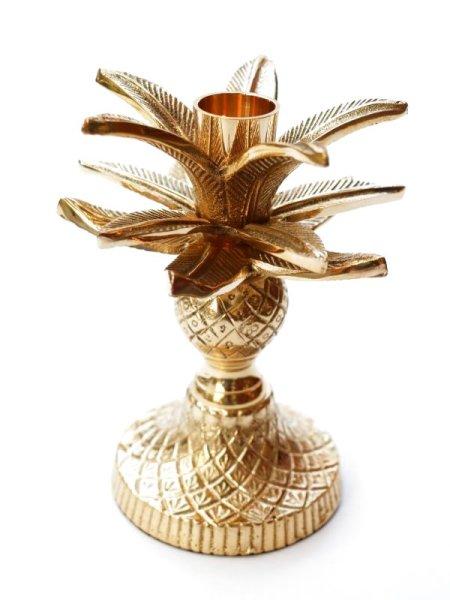 画像1: ★30%OFF★【ANNA+NINA】Pinapple Palm Candle Holder / 真鍮製パイナップルパームキャンドルホルダー[Antique Gold] (1)