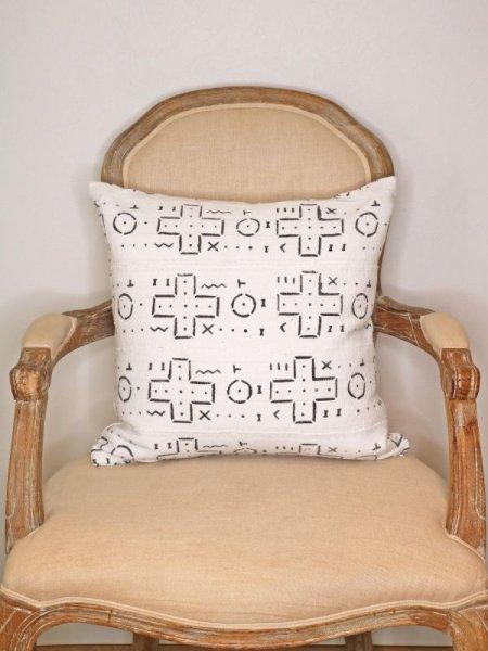 画像1: African Mudcloth Pillow Cover / 泥染め布クッションカバー 45x45 [Tribal] (1)