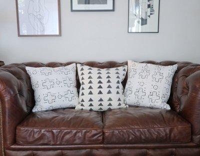 画像1: African Mudcloth Pillow Cover / 泥染め布クッションカバー 45x45 [Triangle]