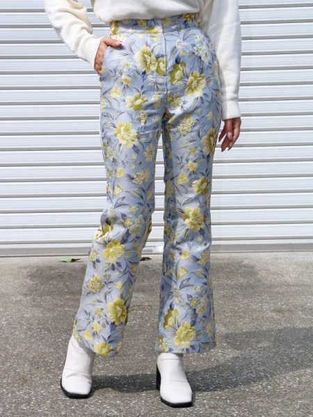 画像1: ★30%OFF★【SISTER JANE】Domestic Jacquard Flare Trousers/ジャガードフレアーパンツ [Blue/Yellow] (1)