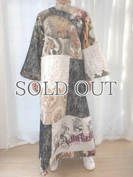 画像1: 【ROTSANIYOM】Mandarin Collar Floral Patchwork Dress/パッチワークロングドレス #C (1)