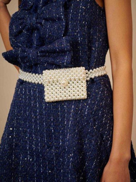 画像1: 【SISTER JANE】Willow Woods Pearl Bag Belt  / パールベルトバッグ [Ivory] (1)