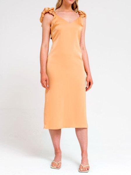 画像1: 【ANOTHER GIRL】Scrunchie Sleeve Slip Dress /  スクランチーショルダーワンピース[Apricot] (1)