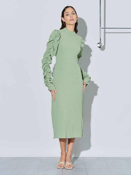 画像1: 【GHOSPELL】Serenity Ruched Sleeve Midi Dress/シャーリングスリーブ L/Sドレス [Green] (1)