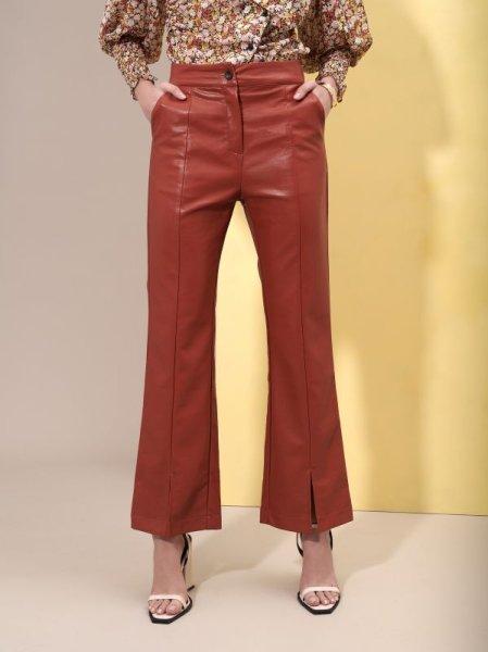 画像1: 【GHOSPELL】Blaze Faux Leather Trousers /エコレザーフレアーレッグトラウザー [Cinamon Stick] (1)