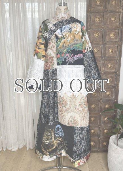 画像1: 【ROTSANIYOM】Mandarin Collar Floral Patchwork Dress/パッチワークロングドレス #A (1)