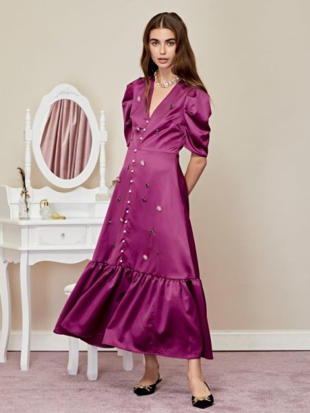 画像1: ★50%OFF★【SISTER JANE】Boudoir Embellished Maxi Dress /ビジューマキシドレス[Violet Pink] (1)