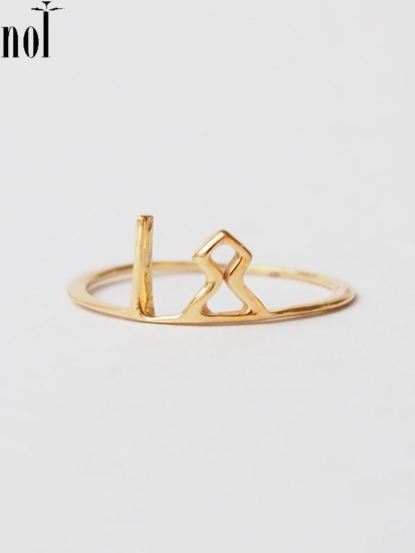 """画像1: 【nol】 Alphabet Ring / アルファベットリング """"F""""[Gold/4号、13号] (1)"""