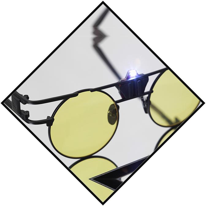 画像1: ★70%OFF★【Esqape / エスケープ】LED SPEQZ / LEDライト付きサークルサングラス[Yellow Clear] (1)