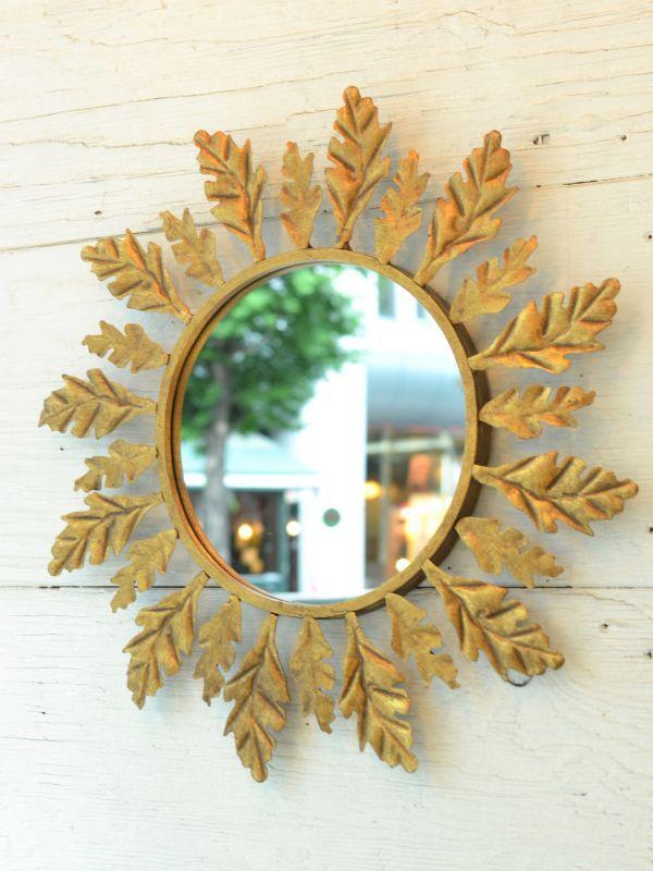 画像1: Leaf Wall Mirror / リーフ壁掛けミラー[ゴールド] (1)