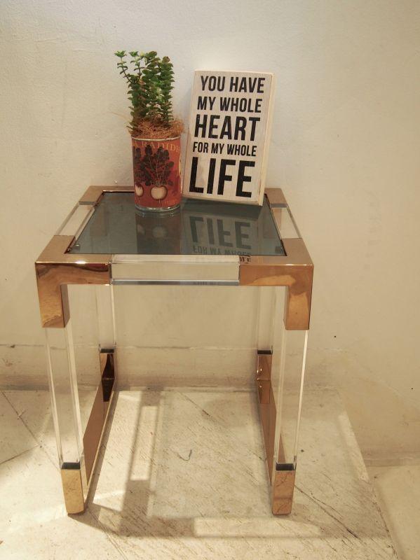 画像1: Acrylic Table / アクリルテーブル / Sサイズ[Clear x Gold] (1)
