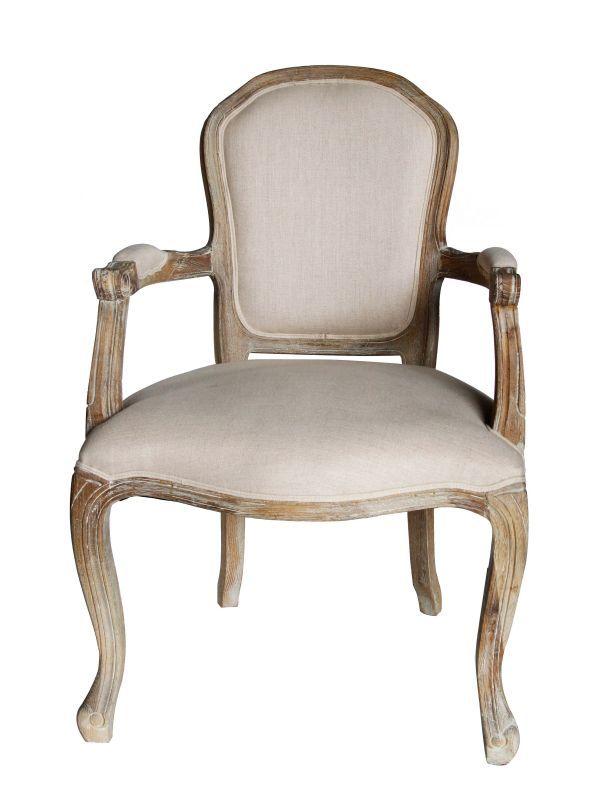 画像1: ★40%OFF★Natural Wood Chair with Arm / ナチュラルウッドアームチェア[Ivory x Beige] (1)