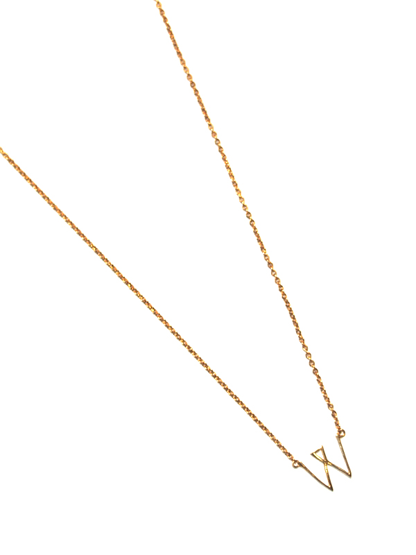"""画像1: 【nol / ノル】Alphabet Necklace """"W"""" / アルファベットネックレス""""W""""[Gold] (1)"""