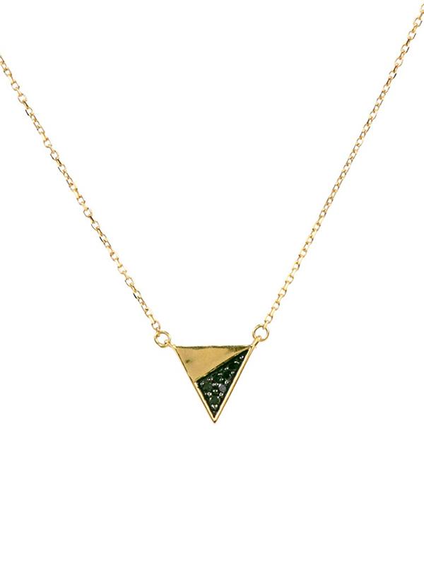 画像1: ★20%OFF★【ADINA REYTER / アディーナ レイター】Tiny Pave Flash Triangle Necklace With Black Diamonds / トライアングルチャームネックレス[14KGold] (1)