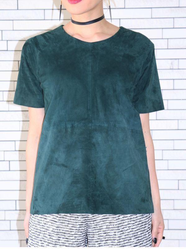 画像1: ★70%OFF★【JUST FEMALE】Rodin Suede Tee / スウェードレザーTシャツ[Green] (1)