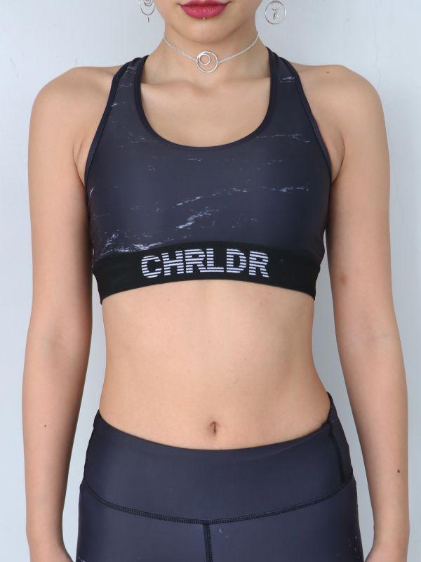 画像1: ★60%OFF★【CHRLDR / チアリーダー】BLACK MARBLE  Sports Bra / マーブルプリントブラトップ[Black x White] (1)
