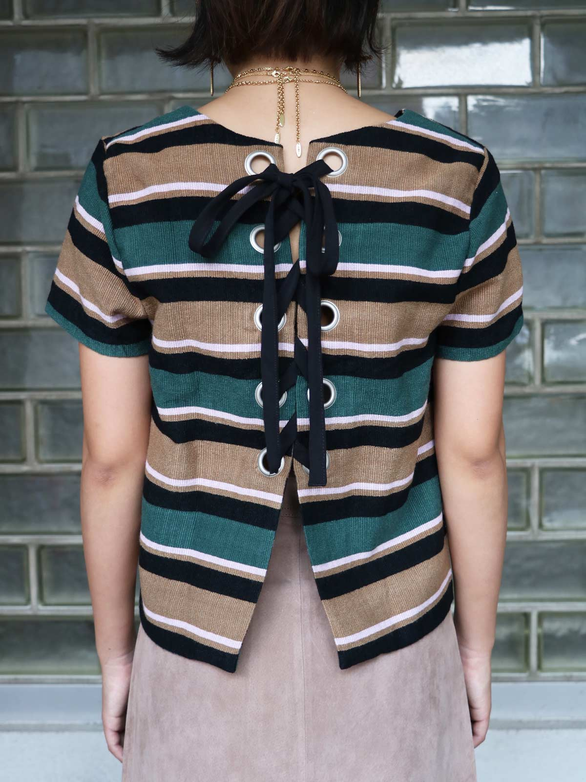 画像1: ★70%OFF★【J.O.A. / ジョア】Back Lace Up Stripe Top / バックレースアップストライプトップ[Multi] (1)