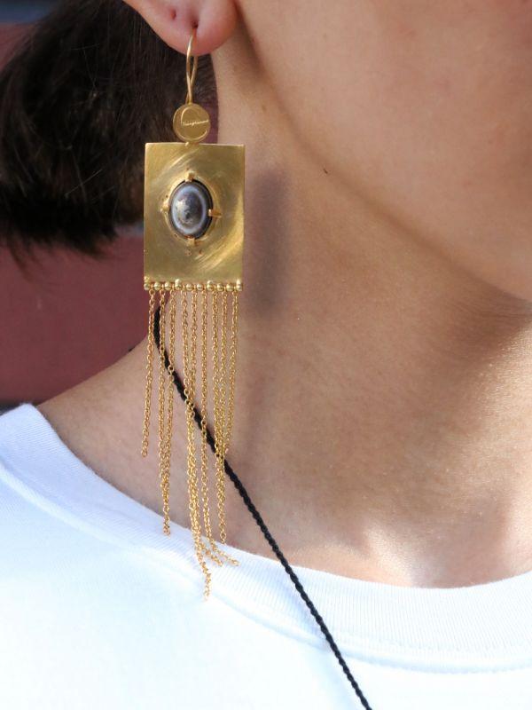 画像1: ★60%OFF★【Erika Pena】Eugenia Eye African Agate Stone on Sq Earrings / アゲートタッセルピアス[Gold] (1)