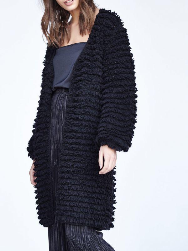 画像1: ★50%OFF★【CALLAHAN / カラハン】Wooly Coat  / シャギーニットコート[Black] (1)