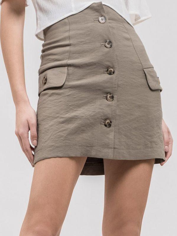 画像1: ★60%OFF★【J.O.A.】Woman Woven Skirt / フロントボタンスカート[Olive] (1)