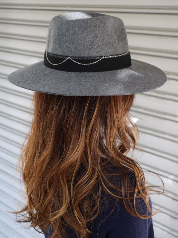 画像1: ★50%OFF★【DON PARIS】 MIRTHA Chained Wool Hat  / チェーンリボンウールハット[Grey] (1)