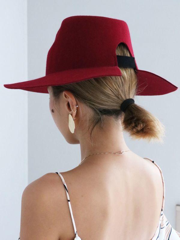 画像1: ★60%OFF★【DON PARIS】 MIRTHA Cut Brim Hat / カットブリムウールハット[Black / Bordeaux] (1)