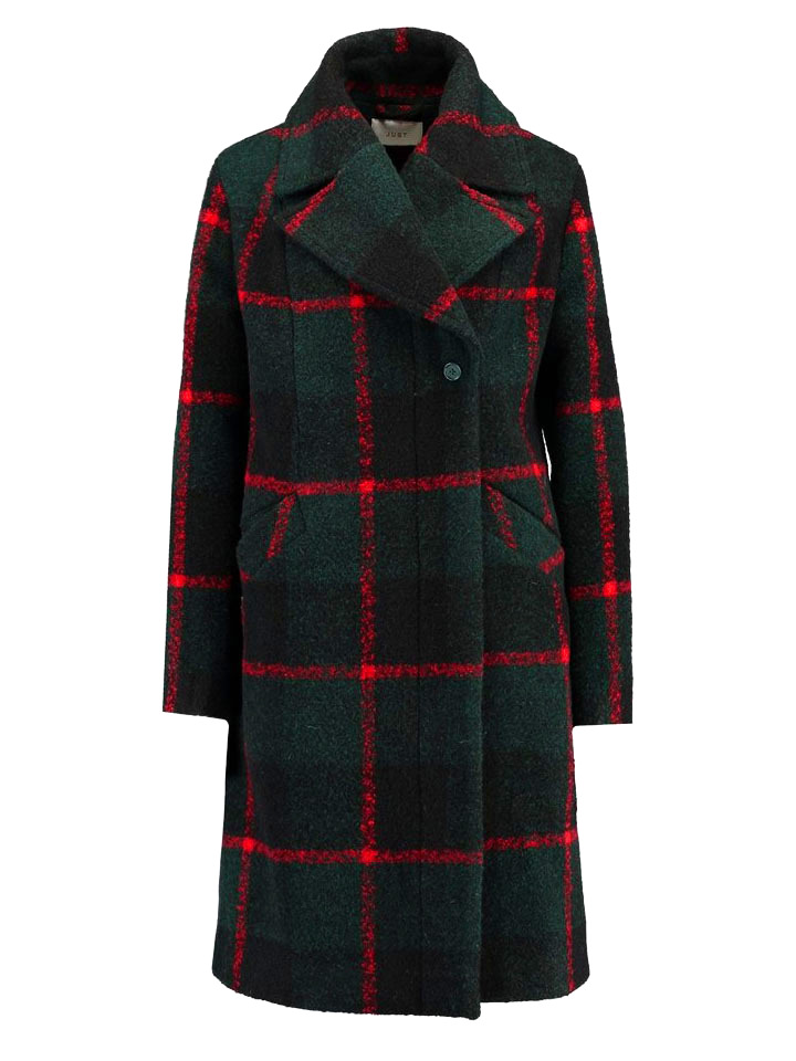 画像1: ★50%OFF★【JUST FEMALE】Emeline Coat / チェックウールコート[Green Check] (1)