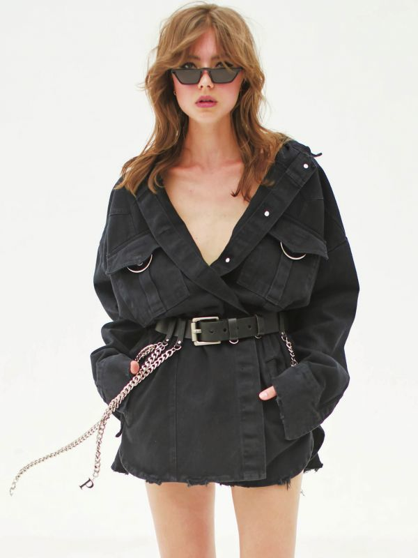 画像1: 【PONY STONE】DELAN ベルト付きオーバーサイズジャケット[BLACK] (1)
