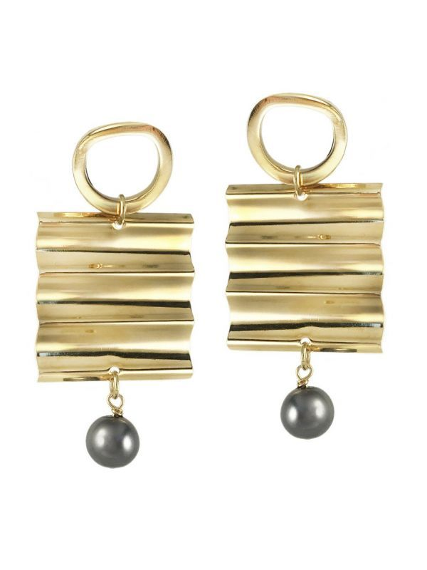 画像1: 【BIKO】RIPPLE EFFECT STUDS EARRING[Gold] (1)