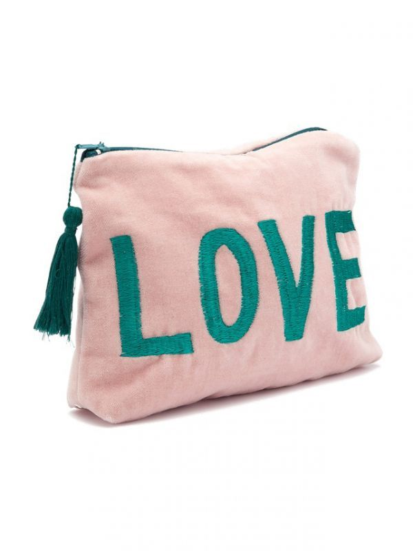画像1: 【ANNA+NINA】LOVE Velvet Pouch / LOVE刺繍ベルベットポーチ[Pink/Green] (1)