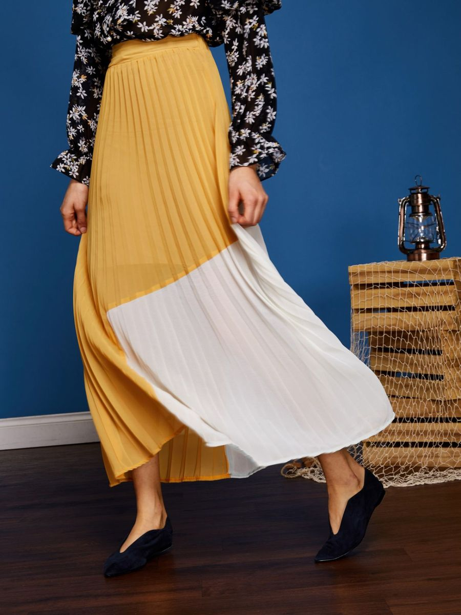 画像1: ★50%OFF★【Sister Jane】Horizon Colour Block Pleated Skirt /  カラーブロックプリーツスカート[Yellow/Whitea] (1)