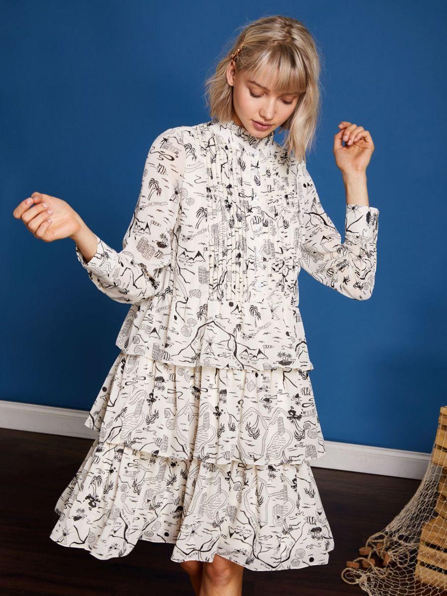 画像1: ★50%OFF★【Sister Jane / シスター ジェーン】Vacation Print Tiered Dress / カスケードラッフルプリントドレス[Ivory] (1)