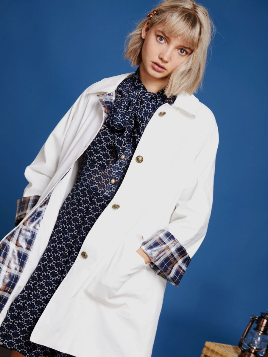 画像1: 【Sister Jane / シスター ジェーン】All Hands On Raincoat / チェックカフレインコート[White] (1)