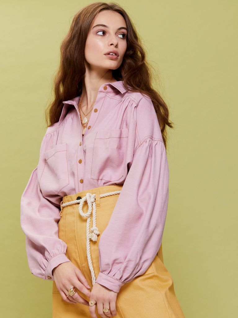 画像1: 【GHOSPELL】Pretty Peninsula Shirt / ドロップショルダーシャツ[Dusty Pink] (1)
