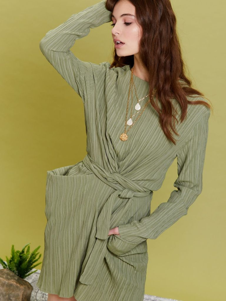 画像1: 【GHOSPELL】Latitude Sash Dress /サッシュミディドレス[Moss Green] (1)