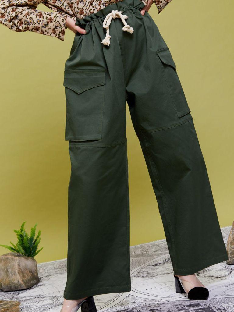 画像1: 【GHOSPELL】Get Lost Trousers / ワイドカーゴパンツ[Green] (1)