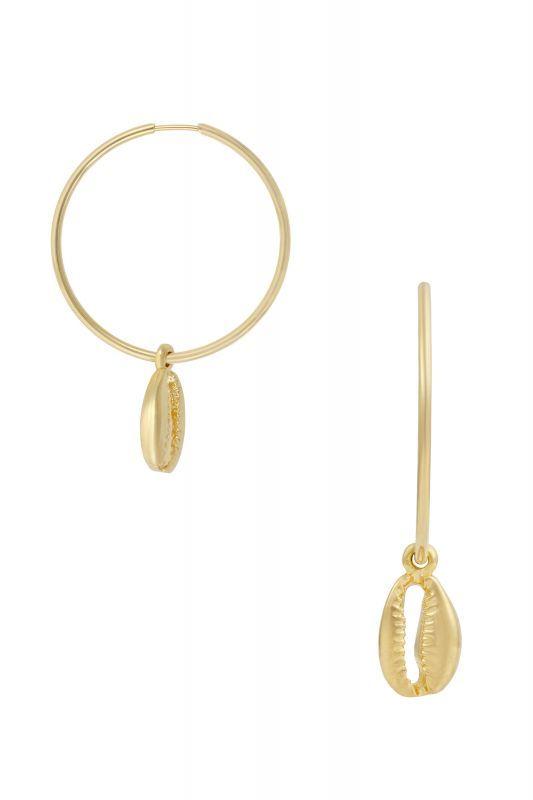 画像1: 【Five And Two Jewelry】Jane Hoop Earrings シェルチャームフープピアス[Gold] (1)