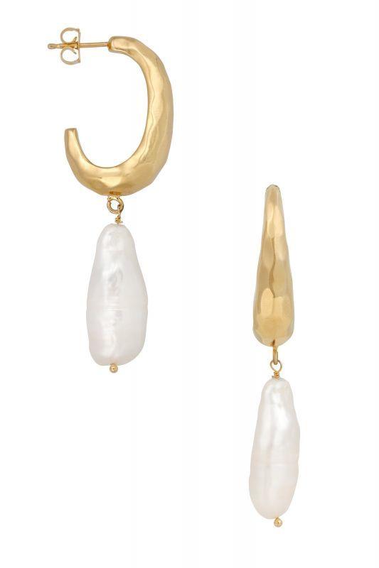 画像1: ★40%OFF★【Five And Two Jewelry】Aura Earrings  天然パールチャームピアス[Gold] (1)
