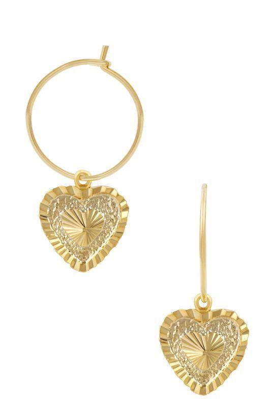 画像1: 【Five And Two Jewelry】Emma Earrings ハートチャームフーピピアス[Gold] (1)