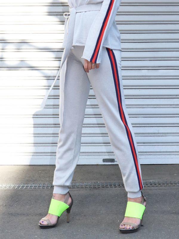 画像1: ★60%OFF★【CURRENT AIR 】 Side line knit Pant/ サイドラインニットパンツ[Light Grey] (1)