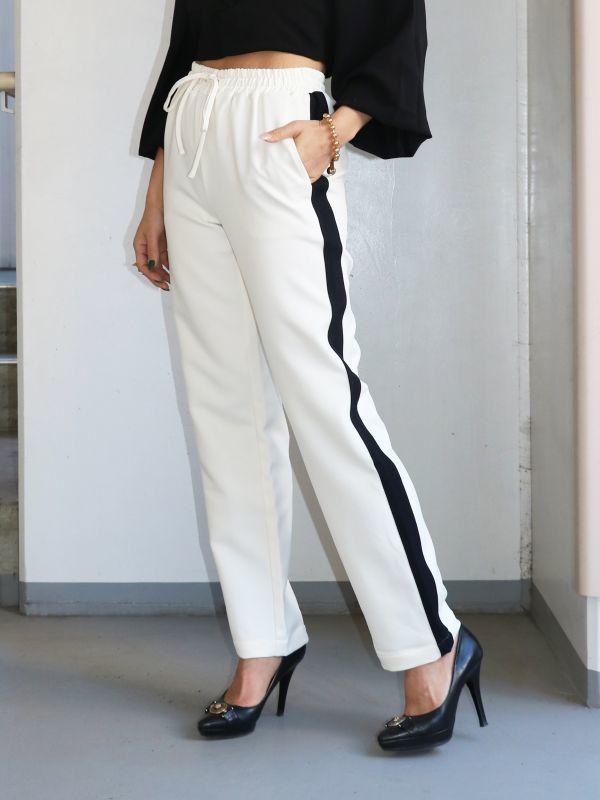 画像1: 【CURRENT AIR / カレントエアー】 Side Line Pants / サイドラインパンツ[Ivory] (1)