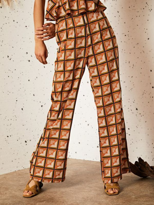 画像1: ★40%OFF★【GHOSPELL】MYSTIC MIRAGE WIDE LEG TROUSERS / レトロプリントワイドレッグパンツ[Brown Orange] (1)
