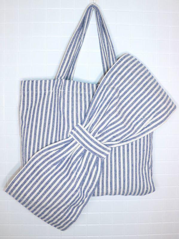 画像1: 【Methodology】Lima Bag / BIG BOWオーバーサイズストライプトートバッグ[Blue Stripe] (1)