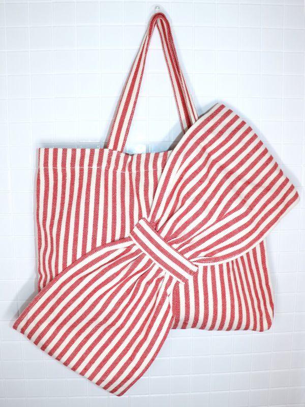 画像1: 【Methodology】Lima Bag / BIG BOWオーバーサイズストライプトートバッグ[Red Stripe] (1)
