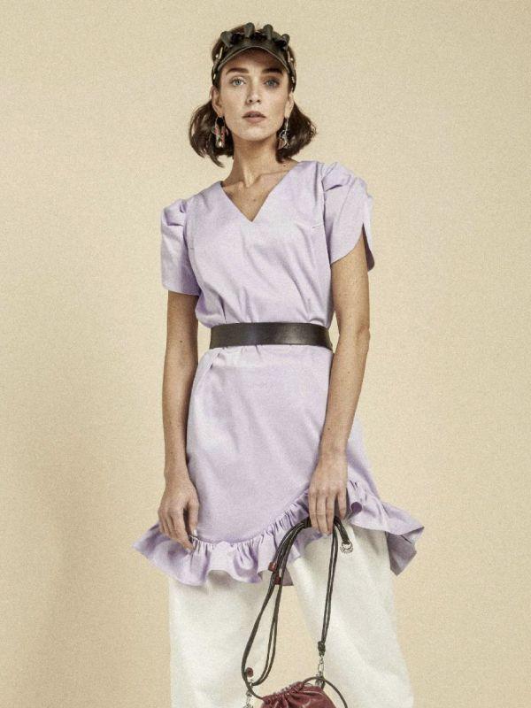 画像1: 【Methodology】Rebe Dress / ショートスリーブミニワンピース [Purple] (1)