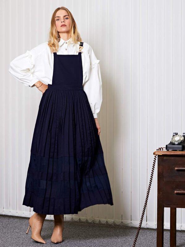 画像1: ★30%OFF★【GHOSPELL】Uniform Maxi Dress /プリーツサスペンダードレス[Navy] (1)